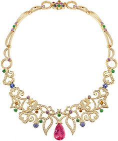 A rich, vibrant multi-gem necklet from Boodles' iconic Wonderland collection, set with 14.28ct of tourmalines, 4.61ct of pink sapphires, 2.47ct of mandarin garnets and 3.40ct of jade in an 18ct yellow gold openwork setting with 11.26ct of diamonds.