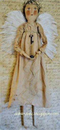 Items similar to Primitives Doll, Folk Art, Shabby White Angel. on Etsy Primitive Folk Art, Primitive Crafts, Primitive Christmas, Primitive Patterns, Primitive Snowmen, Country Christmas, Toy Art, Handmade Angels, Handmade Dolls