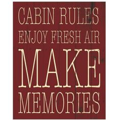 Cabin Rules Red by Eazl Canvas Poster, Multicolor