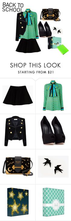 """""""Back to School"""" by audrey-wolk ❤ liked on Polyvore featuring Max&Co., Yves Saint Laurent, Giuseppe Zanotti, Prada, Undercover and BackToSchool"""