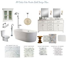 Master Bathroom Design Plan, Master Bathroom Moodboard