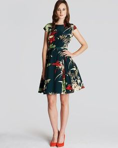 35d59874bd Black with Red Floral 40s Bloom Collection Cocktail Dress