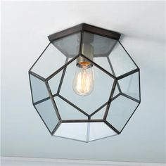 Clear Glass Prism Pentagon Ceiling Light $169 for entry
