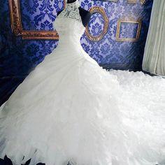 High Neck White Lace Unique Design Chiffon Wedding Party Dresses, Bridal Gown, WD0019