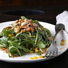 Spicy Greens with Pan-Roasted Corn and Creamy Manchego Dressing
