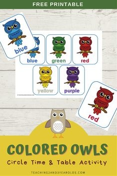 Use this free color recognition owl printable activity while reading the book Hoot and as a table activity! #owls #colors #fall #printable #activity #toddlers #2yearolds #circletime #teaching2and3yearolds Preschool Color Activities, Fall Activities For Toddlers, Circle Time Activities, Owl Crafts Preschool, Owl Printable, Printables, Toddler Circle Time, Teaching Colors, The Book