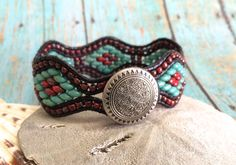 Beaded Leather Cuff Bracelet, Turquoise, Red Picasso,Super Duo Bracelet, Diamond Pattern Bracelet, Unique Cuff, Boho Bracelet, Southwestern