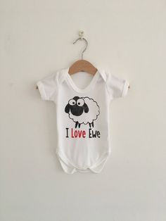 I love Ewe Sheep Organic Cotton Bodysuit Organic Baby, Organic Cotton, Keepsake Quilting, Baby Bodysuit, My Etsy Shop, My Love, Trending Outfits, Shopping, Clothes