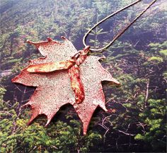 Real Leaf Jewelry Sugar Maple leaf and seed pendant by WoodSmith