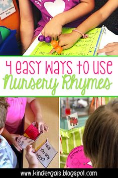 Fun with Nursery Rhymes - 4 easy ways to use nursery rhymes for learning in your kindergarten classroom! Rhyming Activities, Kids Learning Activities, Classroom Activities, Teaching Ideas, Classroom Ideas, Nursery Rhymes Preschool, Teaching Phonics, Teaching Reading, Second Grade Teacher