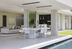 pool, indoor outdoor living, alfresco dining, patio heater, outdoor heater, radiant heater, recess mounted heater, no glow heater