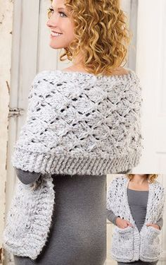 Knitting Pattern Lace Reader's Wrap in Super Bulky Yarn - #ad Easy shawl with pockets also comes with a pattern for worsted weight shawl.
