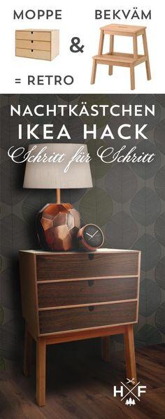 Schritt für Schritt Anleitung für einen einfachen Ikea Hack: aus MOPPE und BEKVÄM ein chices retro Nachtkästchen zaubern.