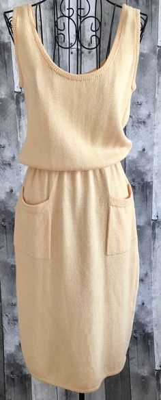 Vintage St. John Knit Sweater Dress Sleeveless Tank Stretch Yellow Gold Small #StJohn #SweaterDress