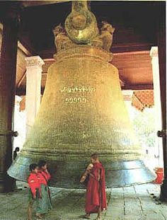 Burma's Mingun Bell, which rings near the city of Sagaing, at the Mingun pagoda, some 11 km (7 miles) upriver from Mandalay, in the center of Burma, on the opposite bank of the Ayeyarwaddy and accessible only by river.
