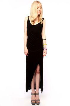 Draped Scoop-Neck Dress