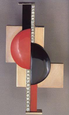 Art Déco - Broche sémaphore - Or gris, Or jaune, Onyx, Corail et Diamants - Gérard Sandoz - 1928