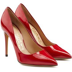 Salvatore Ferragamo Fiore Patent Leather Pumps ($410) ❤ liked on Polyvore featuring shoes, pumps, heels, red, scarpe, high heel stilettos, stiletto pumps, red patent pumps, pointy toe pumps and patent leather pumps