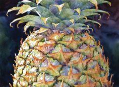 """""""pineapple top"""" by sue archer - watercolor 22x30 ❀ ~ ◊ photo via sue archer's website 'archerville'"""