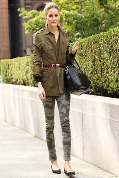 Olivia Palermo in army green camouflage pants and belted jacket, november 2013 Military Style Outfits, Military Fashion, Military Clothing, Military Jackets, Office Fashion, Paris Fashion, Winter Fashion, Online Fashion Magazines, 2014 Fashion Trends