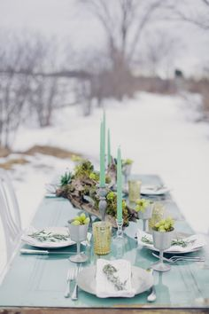 Woodland Wedding Inspiration. Natural and Rustic. Winter Blue Tablescape.
