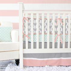 Caden Lane Coral and Mint Arrow Crib Bedding  : Bumper-less Baby Bedding | Dada Baby Boutique