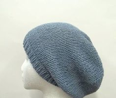 Blue Cotton beanie slouch hat knitted size large by CaboDesigns, $26.00