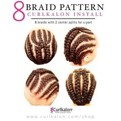 8 Braid Pattern: Here's the secret to how we get the perfect crochet install. Start with freshly washed and conditioned hair. Create an 8 braid pattern with a U part. (seen in our photo above) Crochet 10 curls onto each braid and repeat the pro Crochet Braid Pattern, Crochet Braid Styles, Braid Patterns, Crochet Hair, Crochet Twist, How To Crochet Braids, Crochet 101, Crochet Tutorials, Protective Hairstyles