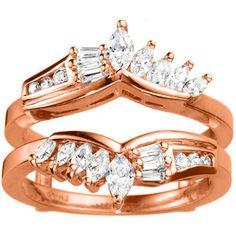 18k Gold 1 7/8ct TDW Diamond Chevron Anniversary-style Ring Enhancer (G-H, SI2-I1) (18K Rose Gold, Size 7.50), Women's, Size: 7.5