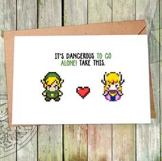 Grab her hand & jump right into your next adventure  We design greeting cards in Etsy for passionate gamers and lovers (if you're lucky then both at the same time). We feature nintendo games like Pokemon, Super Mario and Zelda and other gameboy games that accompanied us through out lives :)