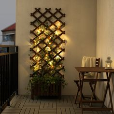 Small Balcony Design, Small Balcony Decor, Small Patio, Apartment Balcony Decorating, Apartment Balconies, Balcony Lighting, Outdoor Lighting, House Plants Decor, Led String Lights