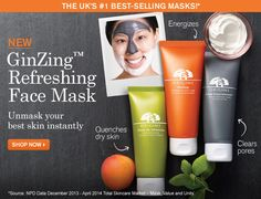 """Try Origin's new GinZing Face Mask for Free. Follow the link and click the """"get offer"""" button. This offer will expire on 7/31/14, so don't delay – if you want this, take action now! http://ifreesamples.com/try-new-ginzing-face-mask-origin/"""
