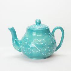 Ceramic Teapots, Tea Pots, Hand Painted, Ceramics, Tableware, Green, Painting, Accessories, Products