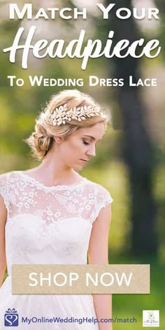 I love how the lace in the wedding dress complements her headpiece. Learn more through the first buy listing on the page. In the My Online Wedding Help products section. #MyOnlineWeddingHelp #WeddingLace