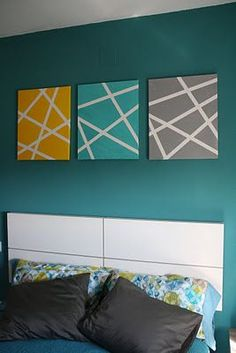 25 Beautiful Tape Painting Ideas For Inspiration Decorating Your Home 2 - homydezign Diy Canvas Art, Diy Wall Art, Diy Wall Decor, Wall Canvas, Diy Home Decor, Room Decor, 3 Canvas Painting Ideas, Canvas Ideas, Diy Wand