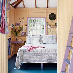 a deep blue painted floor off-sets the pale peach and lavender of the rest of the island-inspired bedroom Bedroom Color Schemes, Bedroom Colors, Bedroom Decor, Bedroom Ideas, Warm Bedroom, Costal Bedroom, Master Bedroom, Bedroom Fun, Summer Bedroom