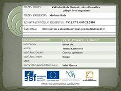 NÁZEV ŠKOLY: Základní škola Hostouň, okres Domažlice, Author