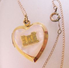 "$35.00 Vintage 1940's Sterling Vermeil Heart Locket with MOP & 12k Gold Filled 19.5"" Jewelry Jewellery by BrightEyesTreasures on Etsy"