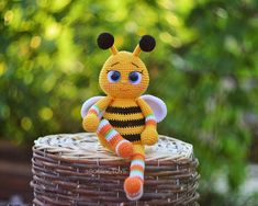 English crochet pattern toy baby bee, pdf file  22 pages of detailed description and step-by-step photos When using these materials, the size of the toy is 25 centimeters Baby Patterns, Crochet Patterns, Crochet Toys, Knit Crochet, Clear Glue, Crochet Accessories, Beautiful Crochet, Handmade Toys, Green Colors