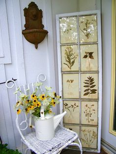 Salvaged window used as a frame for vintage botanical prints. Could use pressed flowers instead? Vintage Windows, Old Windows, Antique Windows, Recycled Windows, Window Art, Window Frames, Window Ideas, Pallette, Vintage Botanical Prints
