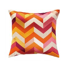 Arrowhead Orange & Pink Embroidered Pillow ($213) ❤ liked on Polyvore
