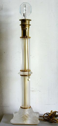 Lalique Signed Olympe Frosted Glass & Gold Table Lamp
