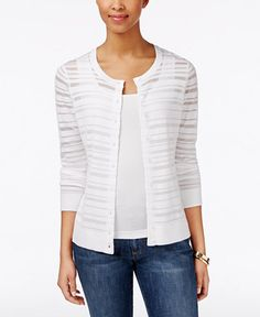 Charter Club Textured-Striped Cardigan, Only at Macy's