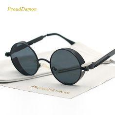 49d25e0849 Men s Gothic Steampunk Round Metal Mirrored Circle Sunglasses