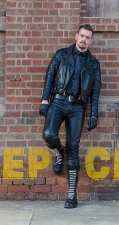 "Loving that well worn Langlitz! "" handsome guy in leather Mens Leather Pants, Leather Gloves, Mustache, Handsome, Guys, Jackets, Jacket Men, Doc Martens, Barbados"