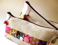 linen patchwork zipper pouches by oktak_ny, via Flickr