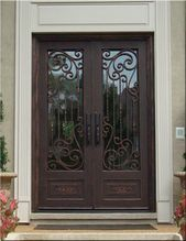 For the last 15 years, Tuscan Iron Entries has been the leading custom wrought iron door provider. We offer premium entry, front and side iron doors. Door Gate Design, Front Door Design, Unique Front Doors, Iron Front Door, Double Entry Doors, Front Entry, Window Grill Design, House Furniture Design, Wrought Iron Doors