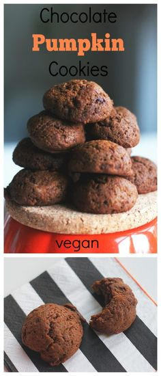 Chocolate Pumpkin Cookies - Two City Vegans Perfect for the autumn season and for pumpkin and cinnamon lovers! Vegan and delish!