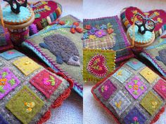 Tiny patchwork wool squares on a pincushion-so sweet!