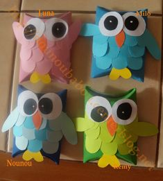 Chouettes colorées Nanny Activities, Creative Activities For Kids, Diy For Kids, Crafts For Kids, Toilet Paper Roll Crafts, Paper Crafts, Rainy Day Crafts, Toddler Crafts, Christmas Art